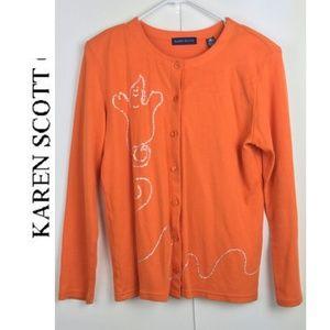 Karen Scott Halloween Boo Orange Cardigan Size M